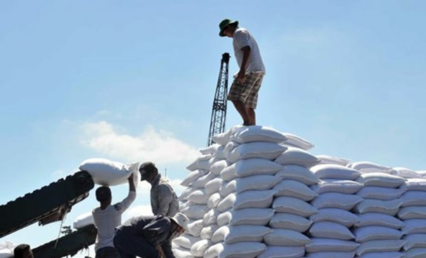 Workers transport sugar at a port in Ho Chi Minh City. Photo: Diep Duc Minh