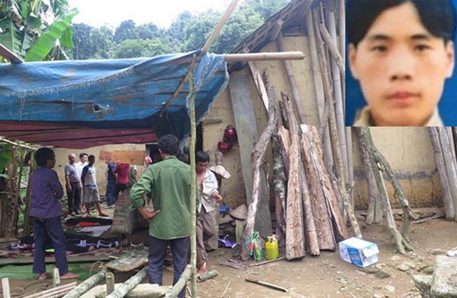 Tan Tao Lo (inset) was accused of killing a woman and three children at this house in Lao Cai Province on August 9. Photo: Thai Uyen