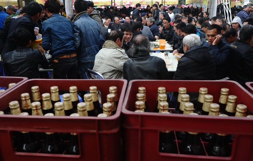 People attend a local annual beer festival in Hanoi. Photo: AFP