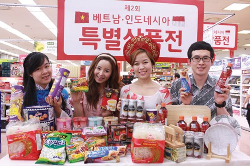 Vietnamese goods on display at an outlet belong to South Korean hypermarket Lotte Mart in 2012