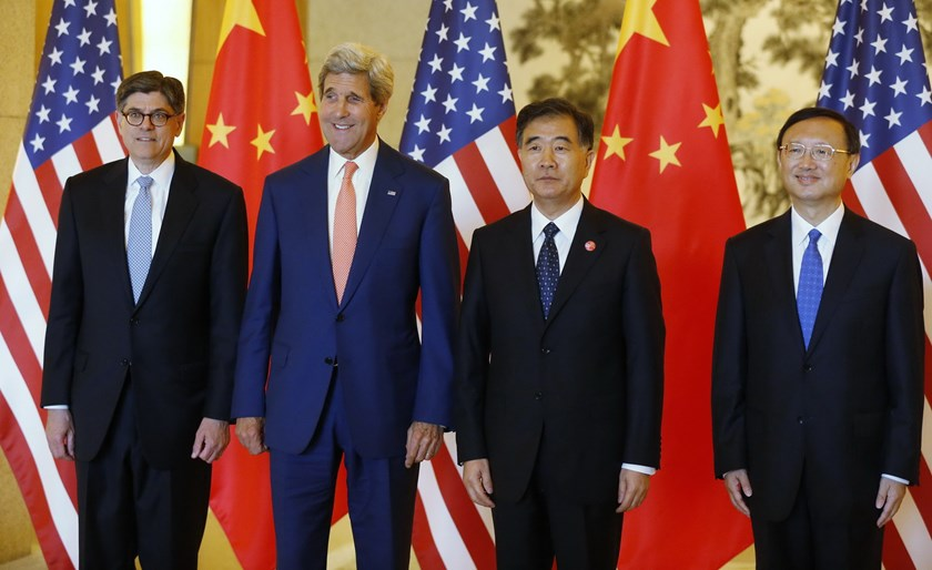 (L-R) US Treasury Secretary Jack Lew, US Secretary of State John Kerry, China's Vice Premier Wang Yang and State Councilor Yang Jiechi pose before a working lunch at the US-China Strategic and Economic Dialogue at the Diaoyutai State Guesthouse in Beijing