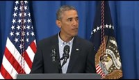 U.S. President Barack Obama delivers a statement on the shooting in Ferguson, Missouri and the situation in Iraq from his vacation on Martha's Vineyard, Massachusetts August 14, 2014.