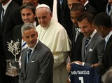 Pope greets soccer players ahead of Match for Peace