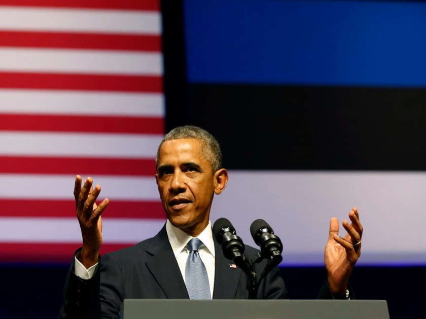 U.S. President Barack Obama gestures as he talks at the Nordea Concert Hall in Tallinn September 3, 2014. Photo: Reuters