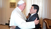 Pope Francis meets soccer star Diego Maradona for the second time in less than a week