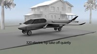 An airplane, helicopter and car, all in one
