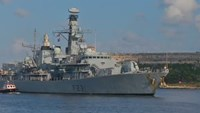 British naval ship pulls into Havana