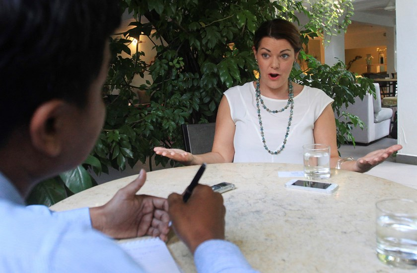 Australian Greens Senator Sarah Hanson-Young (R) talks to Reuters reporter during an interview in Phnom Penh November 18, 2014. Sarah is currently on a fact-finding mission in Cambodia, seeking to understand as much as she can about the recently signed re