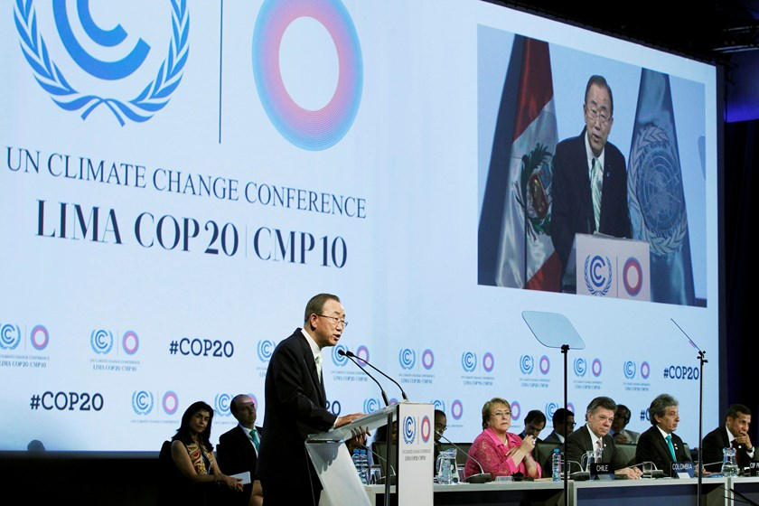 United Nations Secretary-General Ban Ki-moon delivers a speech during the High Level Segment of the U.N. Climate Change Conference COP 20 in Lima December 10, 2014. The two-week long United Nations climate summit opened on December 1 in Lima, with experts