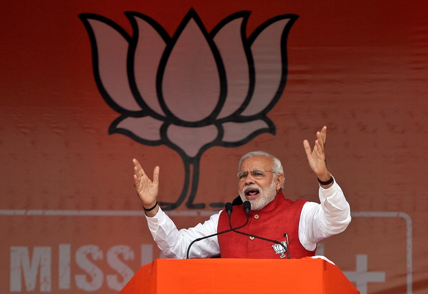 Indian Prime Minister Narendra Modi addresses an election campaign rally at Kathua, south of Jammu December 13, 2014. Photo: Reuters/Mukesh Gupta