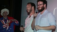 'The Interview' co-star, filmmaker, make surprise visit to midnight screening