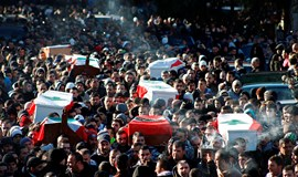 Crowds attend funerals of seven people killed in Lebanon attack