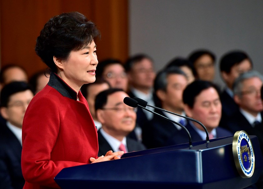 South Korean President Park Geun-Hye speaks during her New Year news conference at the presidential Blue House in Seoul January 12, 2015. REUTERS/Jung Yeon-Je/Pool