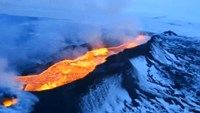Aerial footage shows lava pouring out of Icelandic volcano