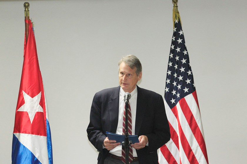 Deputy Assistant Secretary for South America and Cuba Bureau of Western Hemisphere Affairs Alex Lee talks to the media during negotiations to restore diplomatic ties with Cuba in Havana January 21, 2015