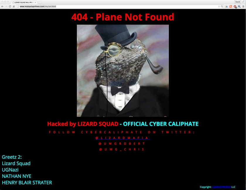 "A screen grab of the official website of national carrier Malaysia Airlines after it was hacked on January 26, 2015 by a group calling itself the ""Official Cyber Caliphate"". The website, www.malaysiaairlines.com, currently shows a photograph of a lizard i"