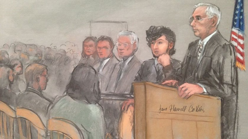 Boston Marathon bombing suspect Dzhokhar Tsarnaev, second from right, in this courtroom sketch