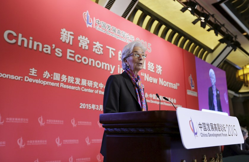 "IMF Managing Director Christine Lagarde delivers a speech about ""Sound Monetary Policy in the New Normal"" at China Development Forum, in Beijing March 22, 2015."