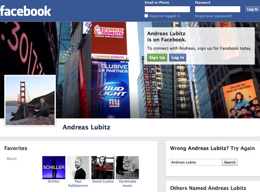 A screenshot shows a Facebook page of co-pilot Andreas Lubitz, March 26, 2015.