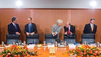 World Trade Organization (WTO) Director-General Roberto Azevedo (L-R) President of The World Bank Jim Yong Kim, Managing Director of the International Monetary Fund (IMF) Christine Lagarde, Angel Gurria, Secretary-General of the Organisation for Economic