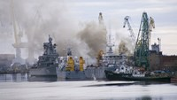 Russian nuclear submarine catches fire in shipyard