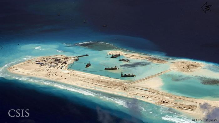 A recent image published by the Center for Strategic and International Studies (CSIS) shows what it said were a chain of small artificial land formations along Mischief Reef