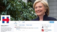 Hillary Clinton's new logo is pictured in this April 12, 2015 screen capture from her Twitter page. Clinton's campaign rollout on social media April 12 set Twitter abuzz as she likely hoped, but part of the discussion quickly veered away from the candidat
