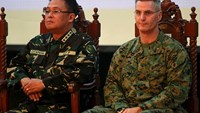 Armed Forces of the Philippines (AFP) Chief of Staff Gen. Gregorio Pio Catapang and U.S. Exercise Deputy Director BGEN Christopher Mahoney (R) USMC attend the opening ceremony of the 2015 Balikatan Exercises between the Philippines and U.S. at the AFP hea