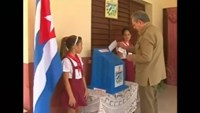 Raul Castro and Fidel Castro vote in Cuba's municipal elections