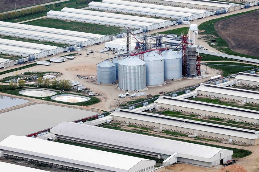 An egg-producing chicken farm run by Sunrise Farm is seen in this aerial photo in Harris, Iowa, April 23, 2015.Iowa, the top U.S. egg-producing state, found a lethal strain of bird flu in millions of hens at an egg-laying facility on Monday, the worst cas