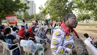 Dr Oby Ezekwesili is interviewed as she expresses support about the rescue of some women and girls from Sambisa forest while a Nigerian protest group continues their sit-in about the girls that are still missing from Chibok, in Abuja, Nigeria. Photo: Reut