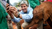 John Kerry takes 'selfie' with elephant in Kenya