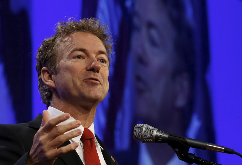 U.S. presidential candidate Senator Rand Paul (R-KY) speaks at the Republican Party of Iowa's Lincoln Dinner in Des Moines, Iowa, in this May 16, 2015 file photo. Photo: Reuters