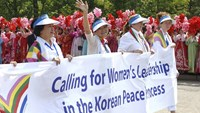 Female activists march for peace in North Korea