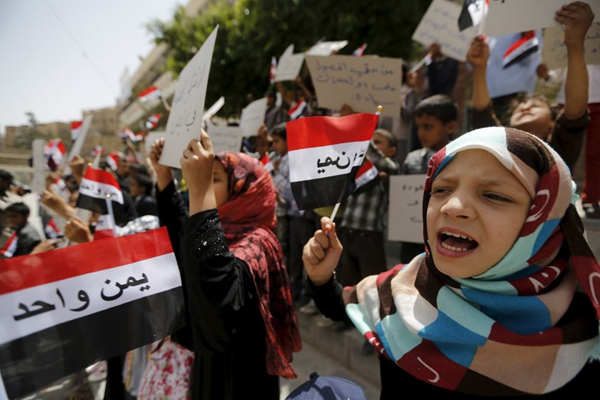 Children shout slogans during an anti-Saudi protest in Sanaa, Yemen, June 6, 2015. Photo: Reuters