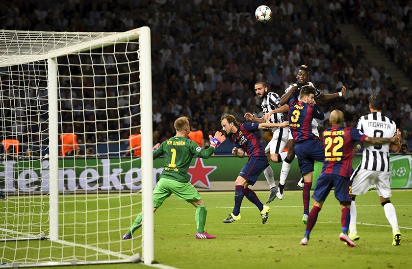 FC Barcelona v Juventus - UEFA Champions League Final - Olympiastadion, Berlin, Germany - 6/6/15 Juventus' Paul Pogba heads at goal. Photo: Reuters