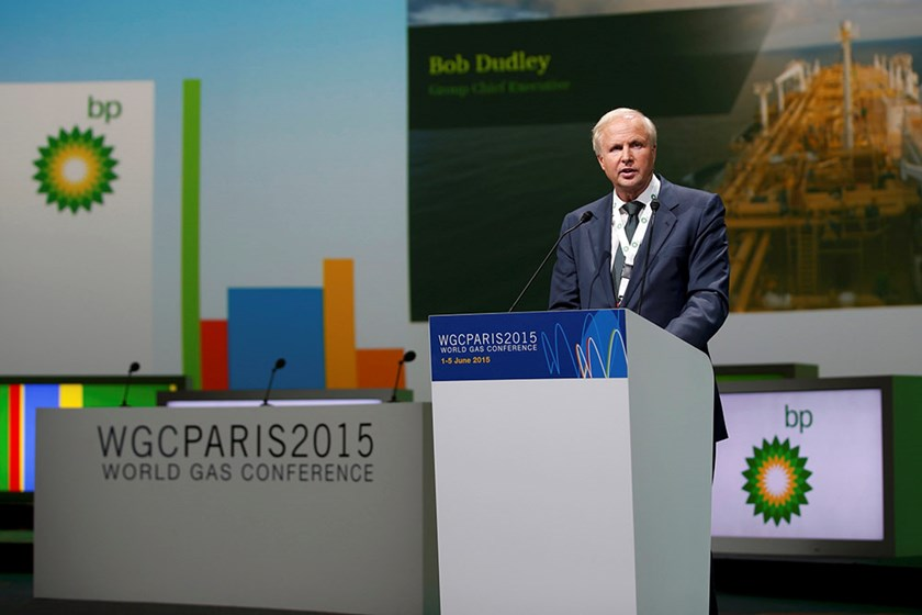 Bob Ddley, Group Chief Executive of BP, speaks during the 26th World Gas Conference in Paris, France, June 2, 2015. Photo: Reuters