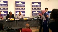 Fight breaks out at Yemen news conference