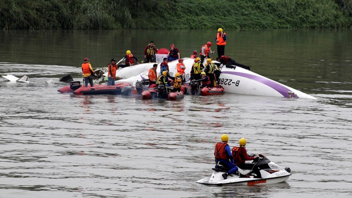 Rescuers carry out a rescue operation after a TransAsia Airways plane crash landed in a river, in New Taipei City, February 4, 2015. Photo: Reuters