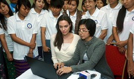 Angelina Jolie meets women's rights group in Myanmar ahead of elections