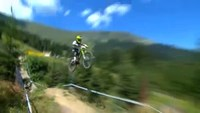 Young mountain bikers run down in Austrian mountains