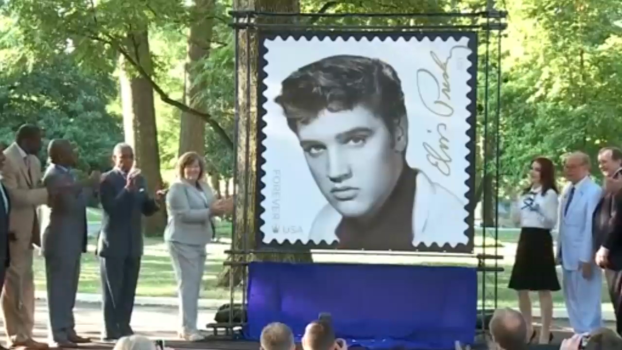 Elvis presley forever stamp going on sale priscilla presley attends