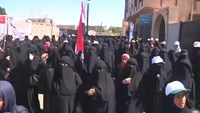 Pro-Houthi women protest against airstrikes