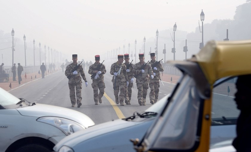 French soldiers rehearses for the upcoming Indian Republic Day parade ahead of Francois Hollande's visit to New Delhi. Photo: Prakash Singh/AFP/Getty Images