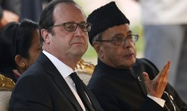 French president views India parade