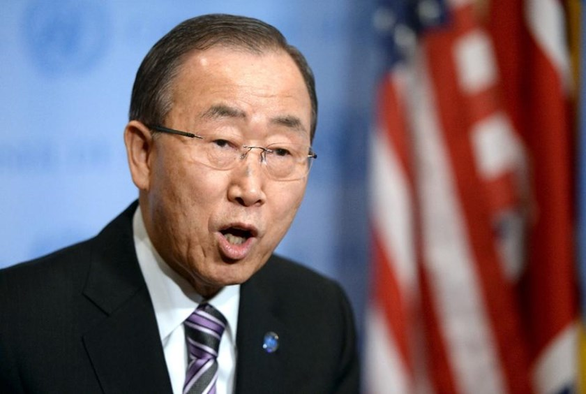 UN Secretary-General Ban Ki- moon speaks to the press on January 6, 2016. Photo: AFP/Timothy A. Clary