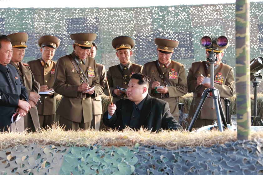 North Korean leader Kim Jong Un watches a rocket firing drill by anti-aircraft units of the Korean People's Army in this undated file photo released by North Korea's Korean Central News Agency in Pyongyang November 3, 2015. Photo: REUTERS/KCNA/Files