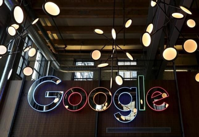 The neon Google sign in the foyer of Google's new Canadian engineering headquarters in Kitchener-Waterloo, Ontario January 14, 2016.