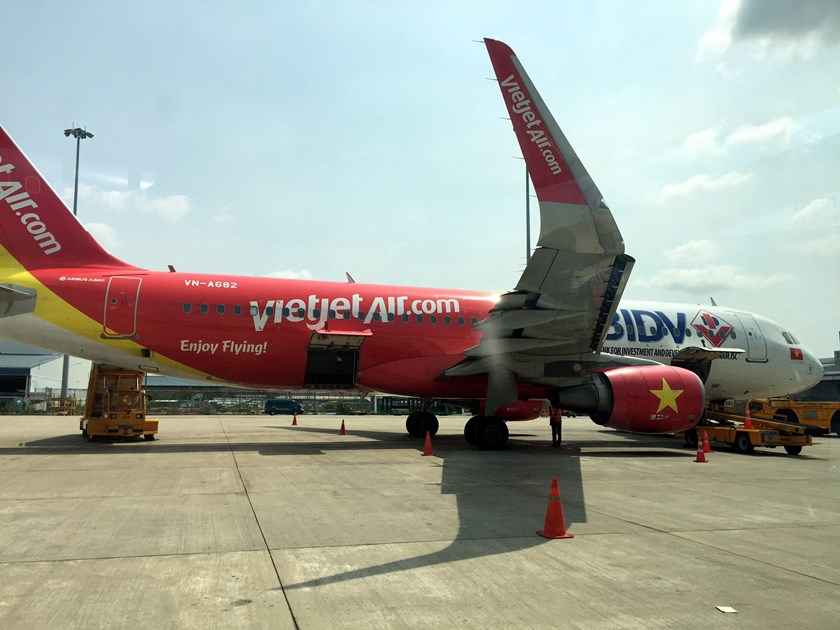 A VietJet Air aircraft at Tan Son Nhat International Airport in Ho Chi Minh City on February 13, 2016. Photo: Thu Thuy