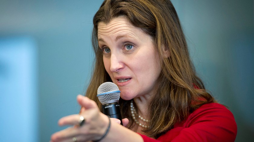 Canada's Trade Minister Chrystia Freeland. Photo: Bloomberg/Kevin Van Paassen